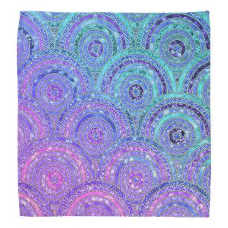 Bandana Aqua luxuoso e pontos e círculos roxos do brilho