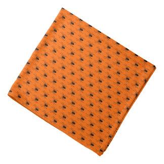 Bandana Aranhas pretas do Dia das Bruxas na laranja