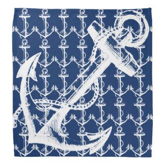 Bandana Azuis marinhos brancos da âncora
