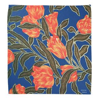 "Bandana ""Bandana azul das tulipas alaranjadas"""