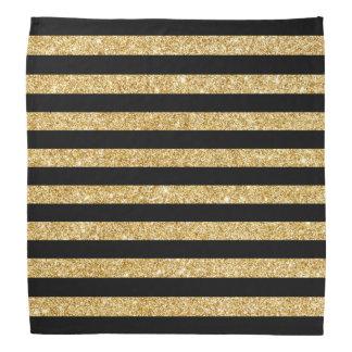 Bandana Brilho elegante do ouro e teste padrão preto da