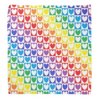Bandana Corações e quadrados do arco-íris