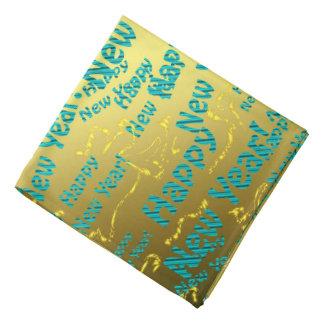 bandana do feliz ano novo do azul e do ouro
