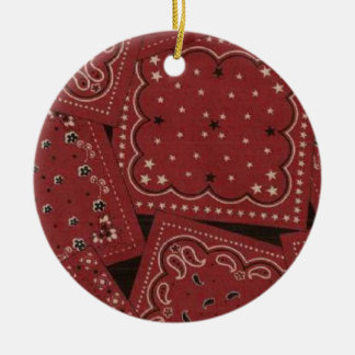 Bandana do vermelho do Natal do país Ornamento De Cerâmica Redondo