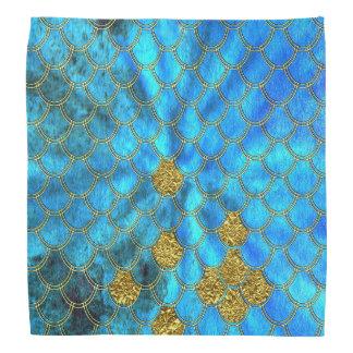 Bandana Escalas azuis da sereia do Aqua com brilho do ouro