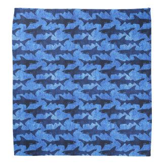 Bandana Escola do teste padrão do azul dos tubarões