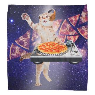 Bandana gato do DJ - gato DJ - gato do espaço - pizza do