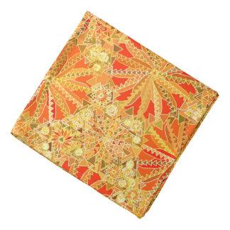 Bandana Impressão da mandala, ouro da mostarda e laranja