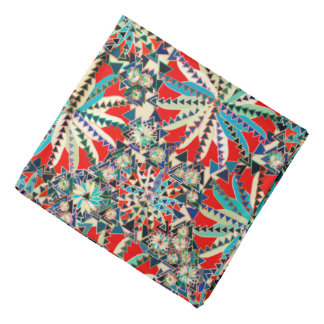 Bandana Impressão, vermelho, azul e creme tribais da