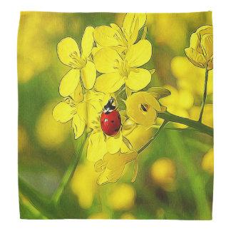 Bandana Joaninha amarelo do vermelho da boa sorte da flor