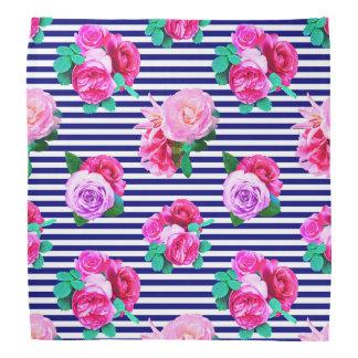 Bandana listrado do marinheiro floral