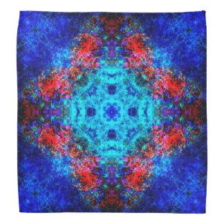 Bandana Mandala vermelha e azul vibrante