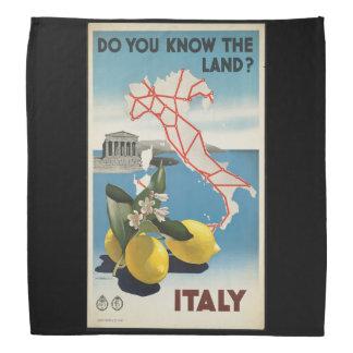 Bandana Mapa de Italia das viagens vintage com limões