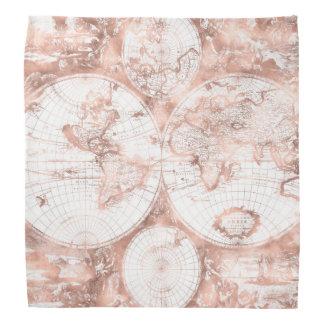 Bandana Mapa do mundo cor-de-rosa da antiguidade do brilho