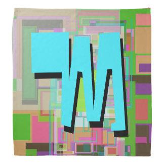 Bandana Monograma geométrico colorido do azul de turquesa