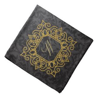 Bandana Monograma quadrado ornamentado no damasco preto