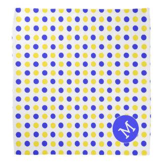 Bandana Monogrammed do cão das bolinhas azuis e