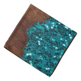 Bandana O azul do Aqua sparkles madeira marrom rústica
