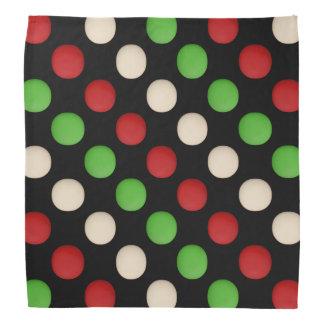 Bandana Pontos brancos verdes vermelhos no preto