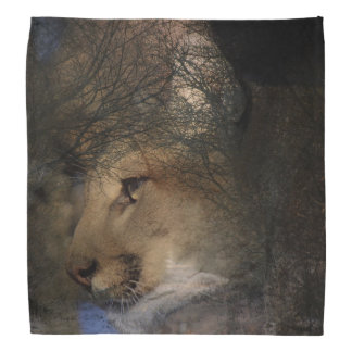 Bandana Puma selvagem do leão de montanha da silhueta da