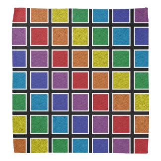 Bandana Quadrados estáticos esboçados branco do arco-íris