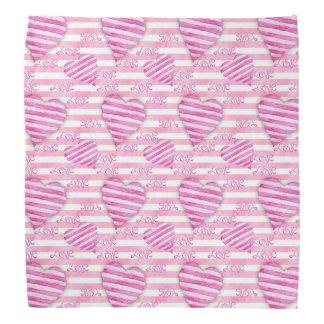Bandana Teste padrão cor-de-rosa dos corações