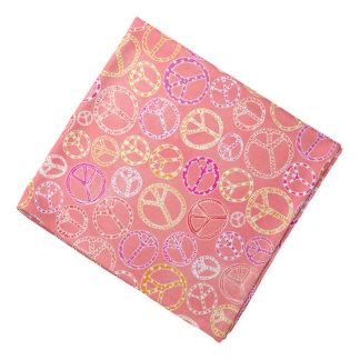 Bandana Teste padrão dos sinais de paz no rosa
