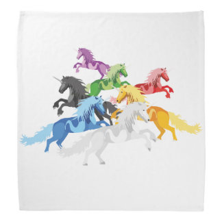 Bandana Unicórnios selvagens coloridos da ilustração