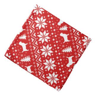 Bandana Vermelho do teste padrão do Natal das silhuetas de