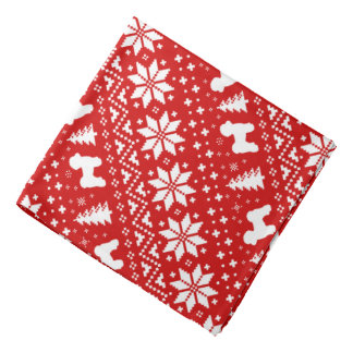 Bandana Vermelho maltês do teste padrão do Natal das