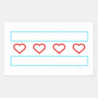 Bandeira aberta dos corações dos corações e das adesivo retangular