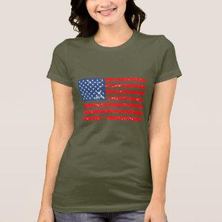 Bandeira afligida dos EUA do estilo Camiseta