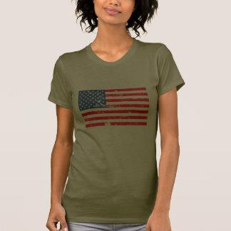 Bandeira afligida dos EUA do estilo T-shirts