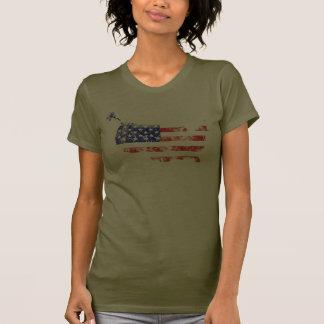 Bandeira afligida os Estados Unidos Camisetas
