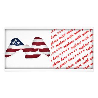 Bandeira americana branca & azul voada vermelha cartão com foto personalizado