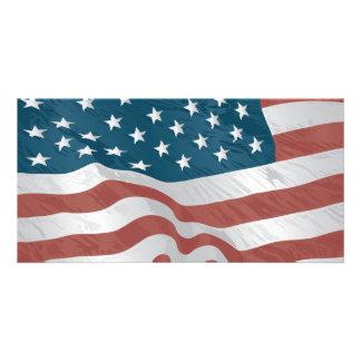 Bandeira americana cartão com foto