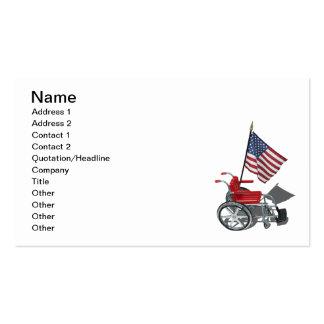 Bandeira americana com cadeira de rodas cartão de visita
