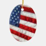 Bandeira americana da aguarela enfeites para arvores de natal