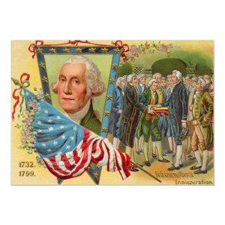 Bandeira americana da inauguração de George Convite 12.7 X 17.78cm