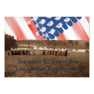 bandeira americana da Reboque-O-Guerra do conflito Convite 12.7 X 17.78cm