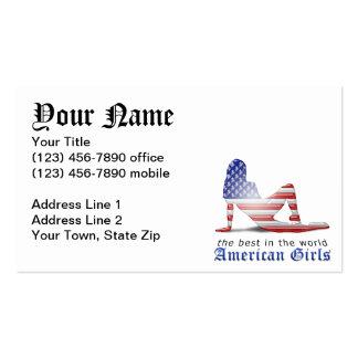 Bandeira americana da silhueta da menina cartoes de visitas