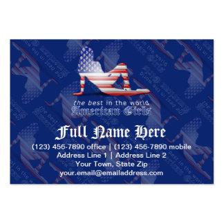 Bandeira americana da silhueta da menina modelos cartoes de visita