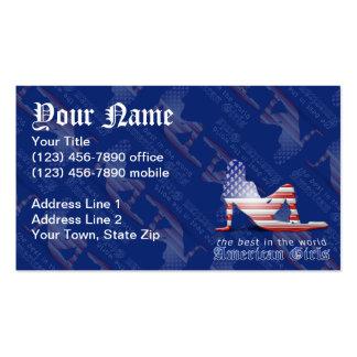 Bandeira americana da silhueta da menina modelos cartão de visita