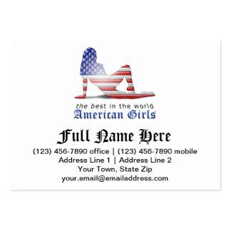 Bandeira americana da silhueta da menina modelo cartoes de visita