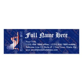 Bandeira americana da silhueta da menina cartoes de visita