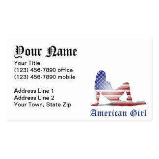 Bandeira americana da silhueta da menina cartão de visita