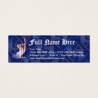Bandeira americana da silhueta da menina cartão de visitas mini