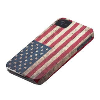 Bandeira americana de madeira velha capa para iPhone 4 Case-Mate