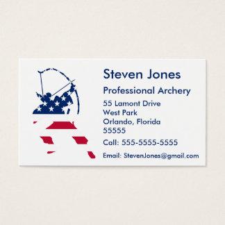 Bandeira americana do arqueiro do tiro ao arco dos cartão de visitas