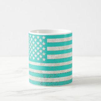 Bandeira americana do grunge da cerceta caneca de café